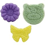 purifyou 100% All-Natural Premium Baby & Adult Bath Sponge with Free Hygienic Storage Bag | Non-Toxic, Ultra-Soft, Long Lasting, Safe Infant Loufa/Pouf from Pure Konjac Plants (Mixed, Set of 3)
