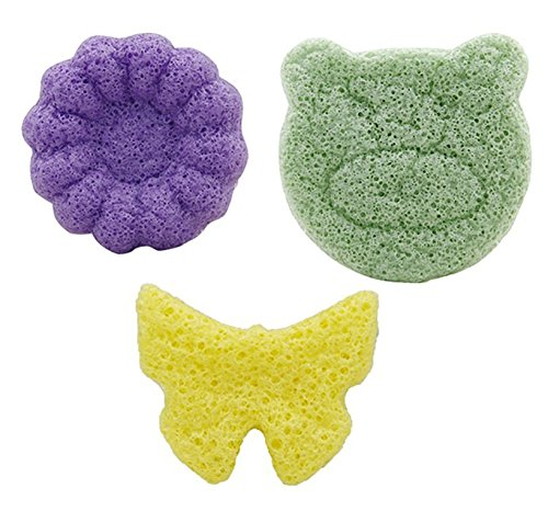 purifyou 100% All-Natural Premium Baby & Adult Bath Sponge with Free Hygienic Storage Bag | Non-Toxic, Ultra-Soft, Long Lasting, Safe Infant Loufa/Pouf from Pure Konjac Plants (Mixed, Set of 3) by purifyou