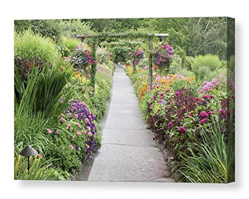 Lush Garden Path CANVAS Wall Art Colorful Flowers Butchart Gardens Picture Floral Home Decor Arches Hanging Basket Green Pink Orange Purple Ready to Hang 8x10 8x12 11x14 12x18 16x20 16x24 20x30 24x36