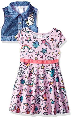 Youngland Little Girls' Printed Skater Dress With Knit Denim Vest, Emoji's/Pink/Multi, 3T