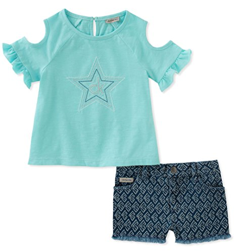 Canal Set - Calvin Klein Baby Girls Shorts Set, Canal Blue/Dark Blue, 18M