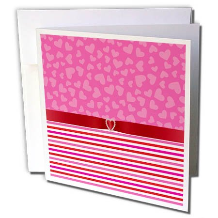 3dRose Anne Marie Baugh - Designs - Cute Pink Hearts Over Pink and Red Stripes with Digital Diamond Heart - 6 Greeting Cards with Envelopes (Stripes Design Diamond)