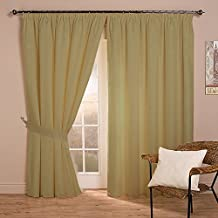 BRIGHTLINEN Vintage 100% Velvet 90 by 90 inches Thick Blackout Elegant Pencil Pleat Tape Top Curtains Ecru