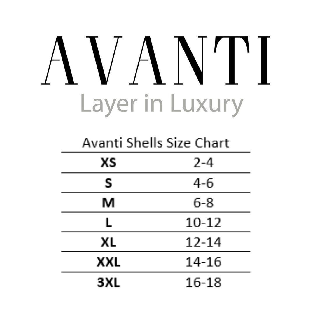 Avanti Shells 3//4 Sleeve Luxury Base Layer Tshirt Cropped Crew Neck