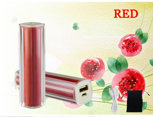 USTOP™Red Plastic pipe lipstick Power Bank 2600mAh Universal Mobile USB Portable Charger 5V 1A output for Apple iPhone 5 4S 4 3Gs 3G, iPod Touch / Samsung Galaxy S3 S S2 S II, HTC, LG, Motorola,Nokia