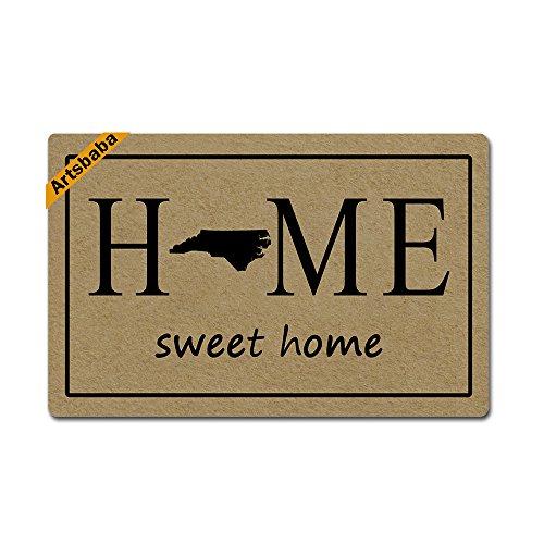 Artsbaba Doormat Home Sweet Home State Map Door Mat Monogram Non-Slip Rubber Doormat Non-woven Fabric Floor Mat Indoor Entrance Rug Decor Mat 23.6 x 15.7 Inches - North (North Entrance)