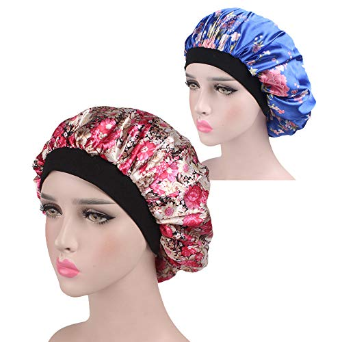 - Palazen New Fashion Wide Band Satin Bonnet Hair Cap Night Sleep Hat Turban for Women Girls, Blue/Red Floral