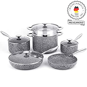 MICHELANGELO Stone Cookware Set 10 Piece, Ultra Nonstick Pots and Pans Set with Stone-Derived Coating, Kitchen Cookware… 5