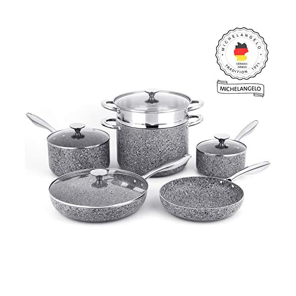 MICHELANGELO Stone Cookware Set 10 Piece, Ultra Nonstick Pots and Pans Set with Stone-Derived Coating, Kitchen Cookware… 1