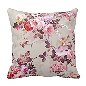 Pillow Perfect 20 X 20 Cotton Vintage Elegant Pink Red Purple Roses Pattern Throw Pillow Covers