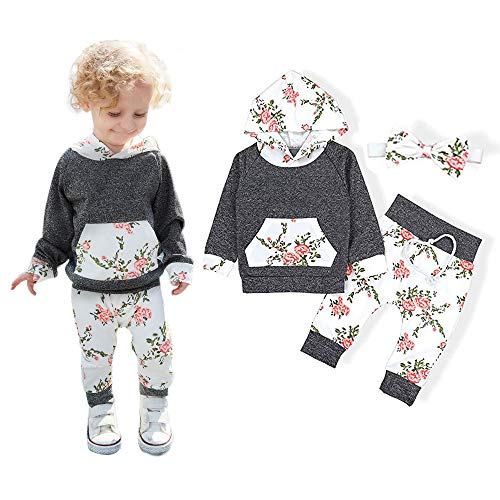 Baby Girls Long Sleeve Flowers Hoodie Tops and Pants Outfit with Kangaroo Pocket Headband by OBC (Image #6)