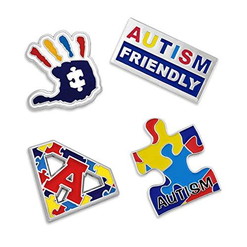 PinMart's Autism Awareness Puzzle Piece Hand Print Enamel Lapel Pin Set