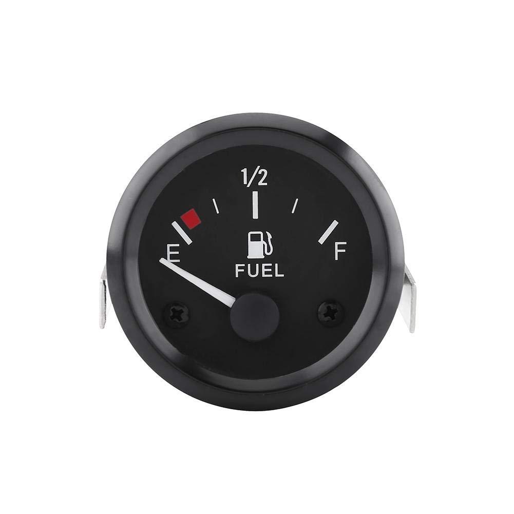 Qiilu 52mm Universal Car Fuel Level Gauge LED Digital E-1/2-F Range Meter with Fuel Sensor