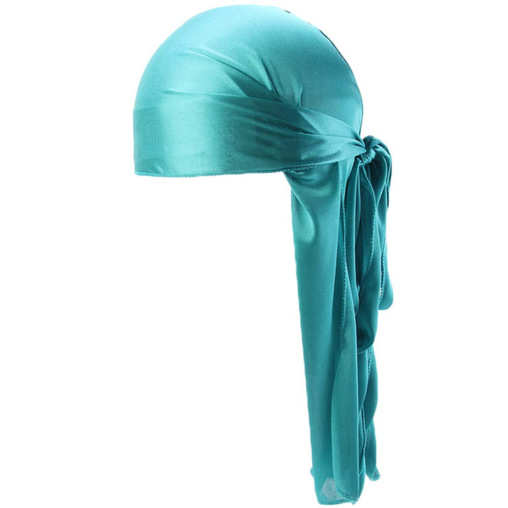 Ztl Silky Durag for Men Women Long-Tail Wave Cap Durags Headwraps with Wide Straps Lake Blue