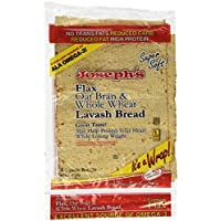Joseph's Lavash Bread Flax Oat Bran & Whole Wheat Reduced Carb - 4 Square Breads Pack of 3