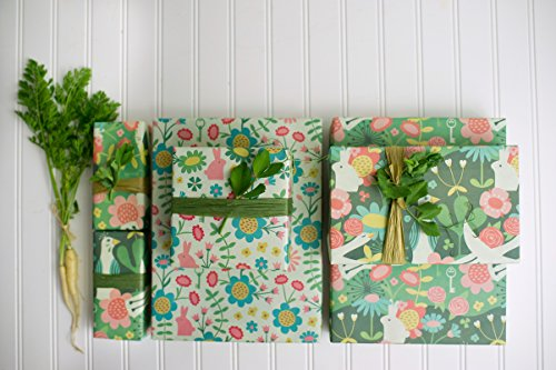 Enchanted Garden/ Wonderland Designer Gift Wrap (6 Sheet Value Pack) - Reversible - Eco-friendly Wrapping Paper By Wrappily - Easter Bunny Paper