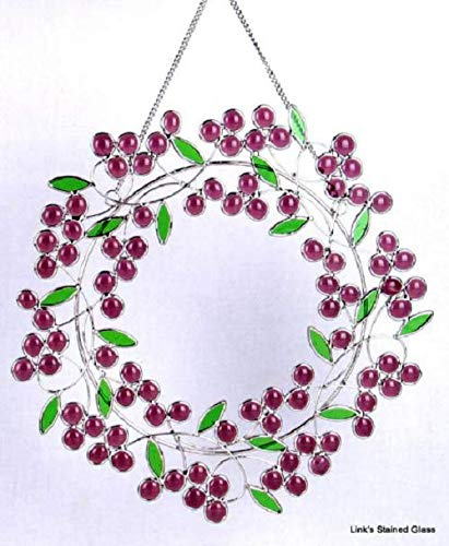 Stained Glass Berry Wreath Sun Catcher, Mauve/Purple