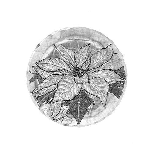 Poinsettia Accent Plate (Wendell August Forge Poinsettia Coaster, Silver)