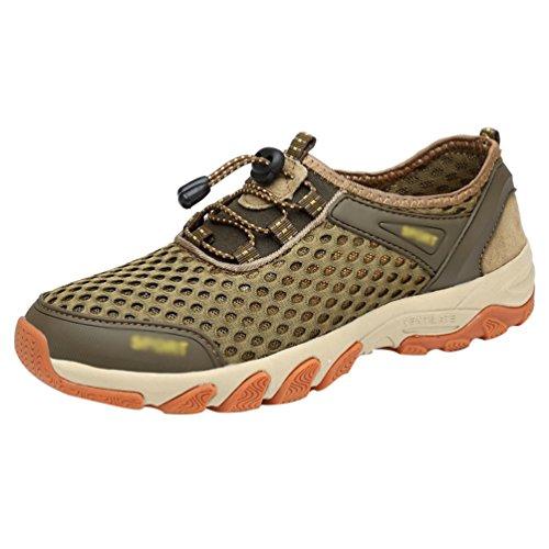 new product 994d6 350a3 Gym Utomhus Vattensandaler Athletic Lätt Mesh Walking Skor Mäns Sneakers  Andas Khaki Flat Running Sommar Utomhus LINNUO AXnqw6PU