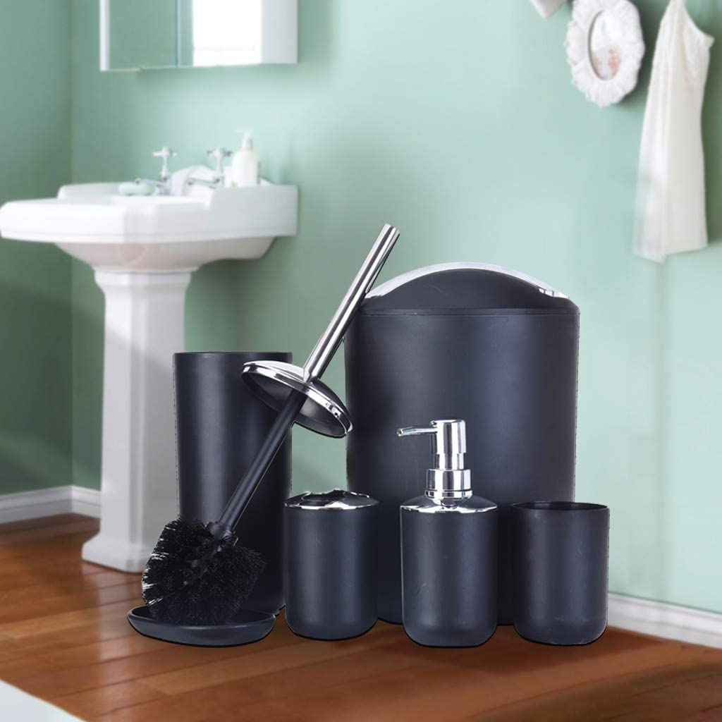 Shipped By Us Eoeth 6 Pcs Bathroom Accessories Set Plastic Gift Mouth Cup Toothbrush Holder Emulsion Dispenser Soap Box Trash Can Toilet Crush With Stand Black Baby Door Hangers