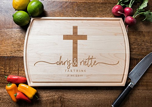 Personalized Custom Wood Cutting Board with Engraved Cross, Names and Date ** FREE ECONOMY SHIPPING ** by Well Written Gifts