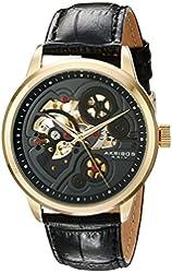 Akribos XXIV Men's AK538YG Mechanical Skeleton Leather Strap Watch