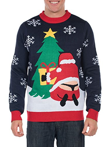 Tipsy Elves Men's Winter Whale Tail Santa Sweater - Funny Ugly Christmas Sweater: Large ()