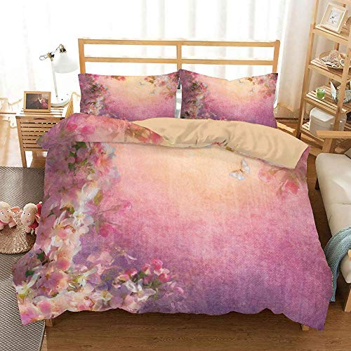 SINOVAL Enchanted Cherry Blossom Petals Field Shabby Chic Floral Garden Spring Picture Studio Single Apartment Decorate Decorative Custom Design 3 PC Duvet Cover Set Queen/Full