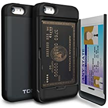 iPhone SE Case, TORU [iPhone SE Wallet Case] Protective Slim Fit Dual Layer Hidden Credit Card Holder ID Slot Card Case with Mirror for iPhone SE / iPhone 5S / iPhone 5 - Metal Slate