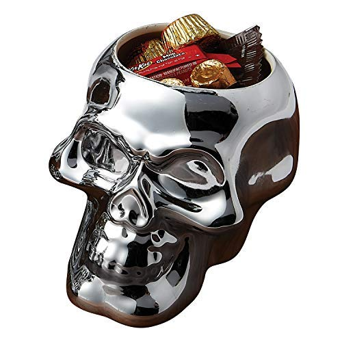 (Silvertone Mirror Skull Shaped Small 4.5 x 4 Inch Earthenware Candy Bowl)