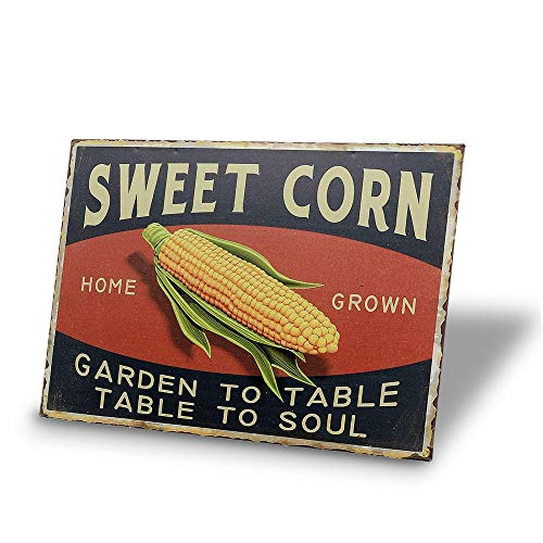 Tin Signs Sweet Corn Retro Vintage Decor Metal Bar Farm Kitchen Sign12x8Inch ()