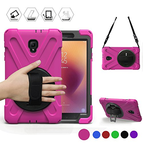 y Tab A 8.0 2017 Case Three Layer Heavy Duty Soft Silicone Hard Bumper Case with Stand+Hand Strap+Shoulder Strap Case for Galaxy Tab A 8''(New) SM-T380/T385 2017 Release (Pink) ()