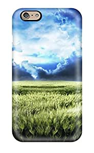 First-class Case Cover For Iphone 6 Dual Protection Cover Green Hayfield Dark Clouds Beautiful Nature Other