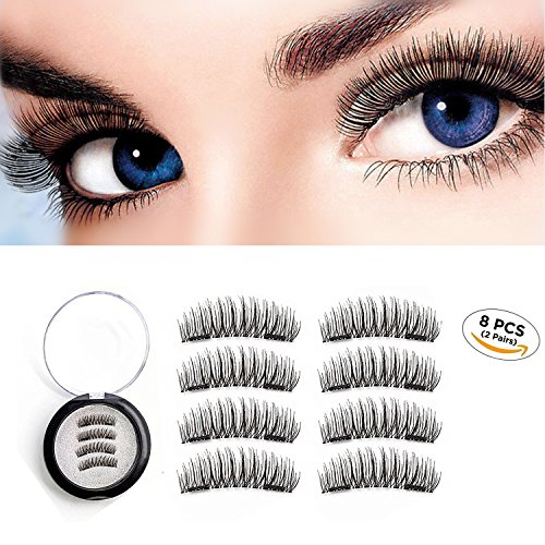 3d Magnet (Magnetic Eyelashes 3D Reusable Fake Dual Magnet Eyelashes,Ultra Thin No Glue 0.2mm False Lashes Natural Looking and Handmade (2Pairs 8Pcs))