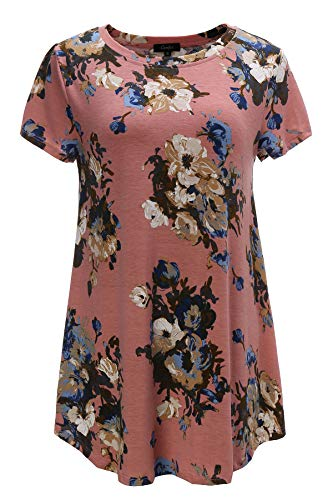Tunics for Women Plus Size Short Sleeve Floral Printed Tunic Shirts (3X, Dark Pink with Floral)