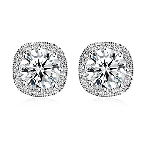 (Jane Stone Fashion Sterling Silver Halo Stud Earrings S925 with Cubic Zirconia CZ Square Crystal Jewelry for Women)