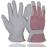 Goatskin Leather Gardening Gloves Women, 3D Mesh Comfort Fit- Improves Dexterity and Breathability Design, Scratch Resistance Garden Working Gloves for Vegetable or Pruning Roses (Medium, Pink)
