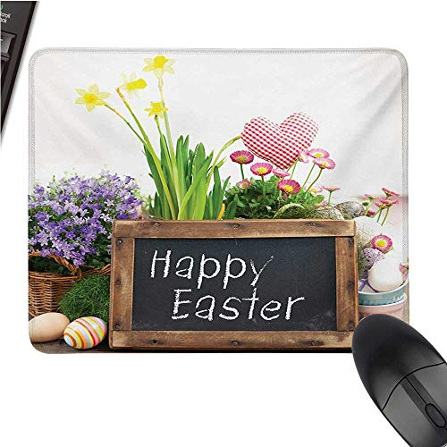 (Eastercomputer Mouse padHoliday Arrangement with Flowers Eggs Chalkboard on a Wooden Table Rustic ElementsBlack Cloth Mousepad 9.8