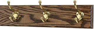 "product image for PegandRail Solid Oak Coat Rack with Solid Brass Hat and Coat Style Hooks - Made in The USA (Walnut, 15"" x 3.5"" with 3 Hooks)"