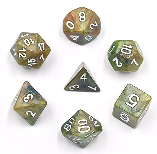 Polyhedral 7-Die Dice Set Colourful Marble DND Dice for Dungeons and Dragons Tabletop Roleyplaying & DND ()