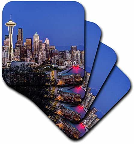 3dRose USA, Washington State, Seattle, Downtown and Mt. Rainier At Twilight. - Ceramic Tile Coasters, Set of 4 (cst_205856_3)