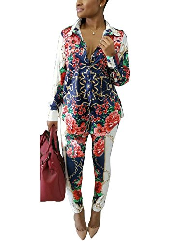 Subtle Flavor Women's Long Sleeve 2 Pieces Outfit Floral Print Shirt and Long Pants Bodycon Jumpsuits Set