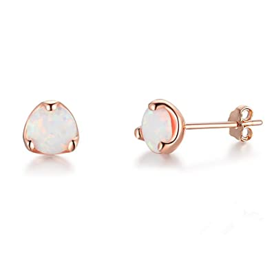 cfabe2b1e Buy Solid 925 Sterling Silver Rose Gold Plated Jewellery Opal Vintage  Women's Luxury Stud Earrings Online at Low Prices in India   Amazon Jewellery  Store ...