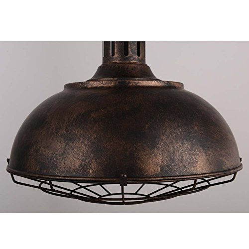 Neo-Industrial Nautical Barn Cage Pendant Light - LITFAD 16'' Single Pendant Lamp with Rustic Dome/Bowl Shape Mounted Fixture Ceiling Light Chandelier in Copper by LITFAD (Image #6)'
