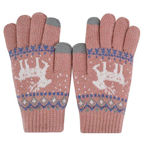 Rebecca Women Christmas Deer Pattern Knitted Gloves Winter Warm Mittens Thickened Soft Full Finger Gloves