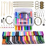 clay tool starter kit - Magicfly Polymer Clay Starter Kit, 45 Colors Oven Bake Clay with 5 Modeling Tools and 40 Jewelry Accessories, Safe and Nontoxic DIY Baking Clay Blocks