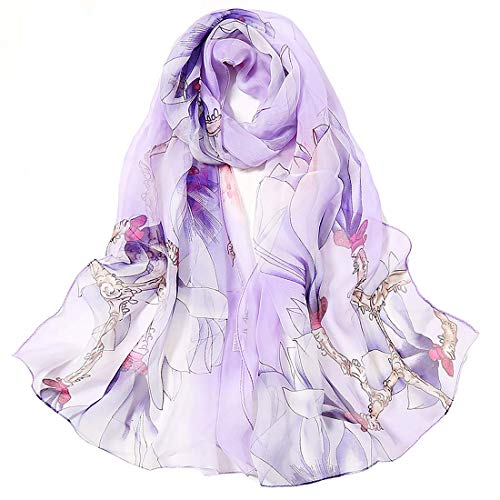 Print Silk Feeling Scarf Fashion Scarves Lightweight Sunscreen Shawls for Women (Magnolia&Purple)