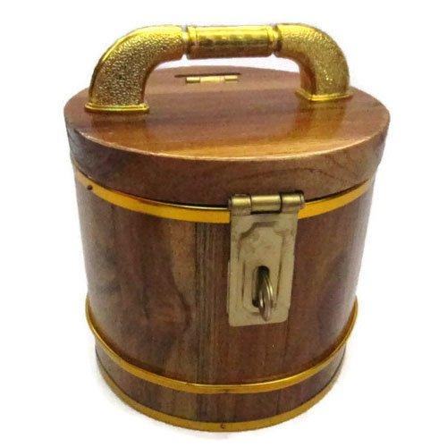 Wooden Handmade Piggy Bank Decorative Round Vintage Style Storage Box 5 inch (Mens Kermit Suit Costume)