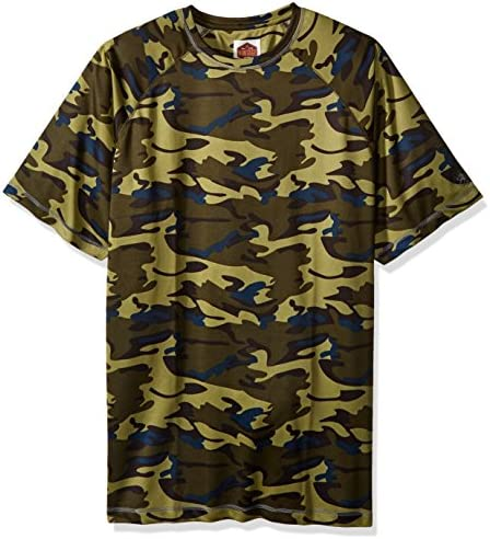 Vintage by Majestic International Mens Short Sleeve Camo Crew Neck Top with Pocket