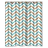Tan Light Blue White Pattern Zig Zag Chevron Shower Curtain - Fashion Personalized Bathroom Curtains Waterproof Polyester Fabric 60(w)x72(h) Rings Included